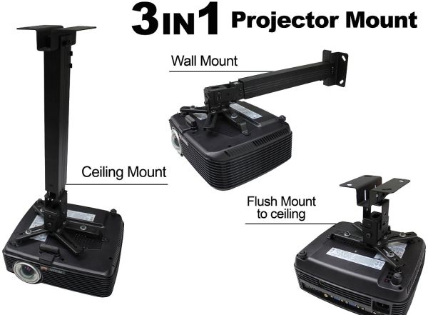 Eilte 3 in 1 Ceiling/Wall/Flush Projector Bracket 45-65cm